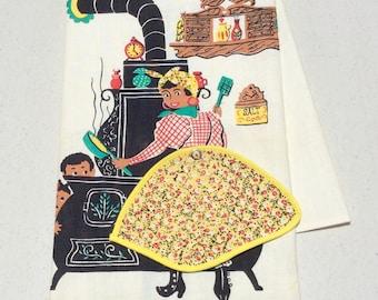 Vintage Black Americana Towel Mammy at the Stove w Peek-a-boo Potholder