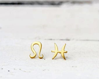 Single Zodiac Sign Earring Solid Gold Earrings Tiny 14k gold One Solid Gold Initial Stud dainty Valentine gift personalized womens