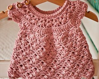 Crochet dress PATTERN - Rose Blush Dress (sizes up to 7 years)