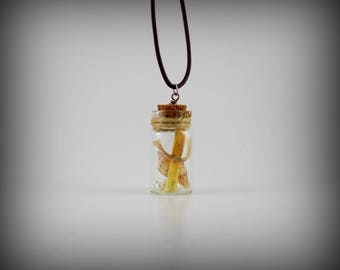 Message in a Bottle Necklace, Scroll with shell and pearls