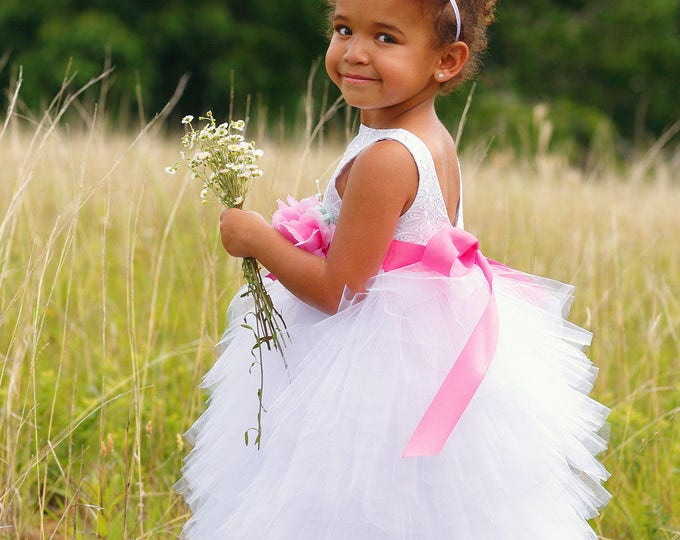 Flower Girl Dress - Tulle Flower Girl Dress - Princess Dress - Weddings - Pageant Dress - Party Dress - Fancy Dress - White - 2T to 8 Years