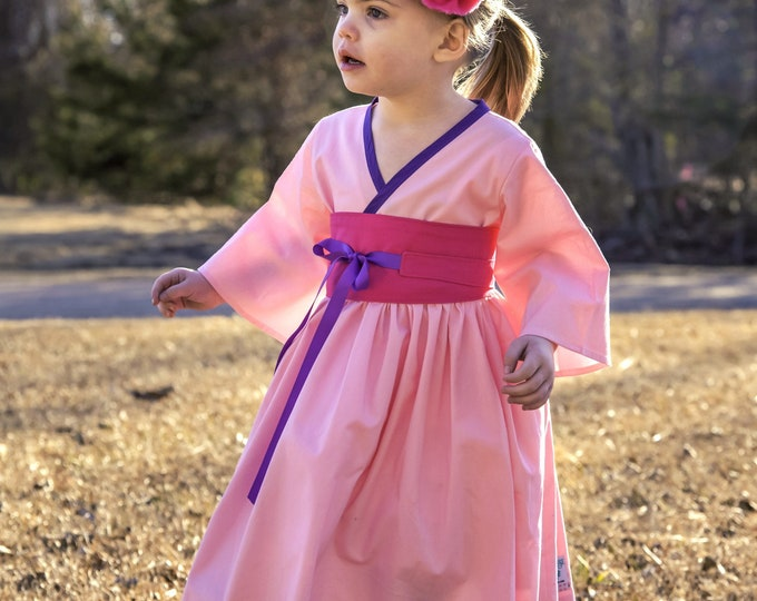 Princess Mulan - Mulan Costume - Pink Mulan Dress - Mulan Birthday - Little Girl Kimono - Mulan Kimono - Birthday Outfit - 12 Mos - 14 yrs