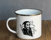 SECONDS SALE! Rise and Grind Enamel Mug   Reaper Design   10 ounce Enamel Mug   Camp Mug   Enamel Mug   Tattoo Mug   Coffee Mug   Reaper Mug