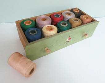 11 Large Spools of Thread, Vintage Lot for Sewing or Craft Room Display