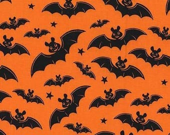 Orange a Little Batty Nightmare in Gnomeville - Michael Miller - Cotton Woven fabric by the yard