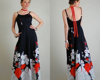 Resort Maxi Dress Vintage Black + White + Red Psychedelic Graphic Resort Floral Maxi Dress (s m)