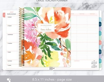 teacher planner 8.5x11 | 2017-2018 lesson plan | weekly teacher planner | personalized teacher planbook | citrus watercolor floral