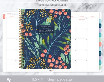 8.5x11 MONTHLY PLANNER notebook | 2017 2018 no weekly view | choose your start month | 12 month calendar | navy watercolor floral