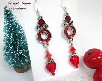 Boho Renaissance Earrings, Ruby Red Hearts, Silver, Art Nouveau Jewelry, Long Dangle Shoulder Dusters, Romantic Christmas Gift for Women 472