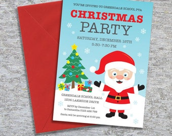 Christmas Party Invitation - DIY Printable Personalized - Snowy Santa (Digital File)