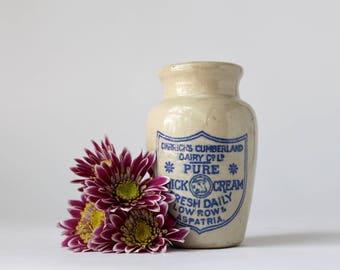 Carricks Cumberland Cream Pot,  English Cream Pot, Dairy Advertising, Stoneware Cream Pot, Farmhouse Kitchen Decor,  Transferware Pot