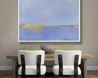 Abstract Landscape Print on Paper, Large Paper Print, Minimal, Minimalist Art, Coastal, Blue Art Wall Decor, New England Landscape Art