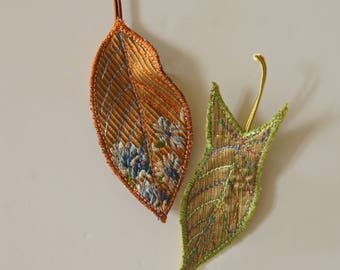 Leaf Hair Clips Orange Gold Green Brocade Silk Woodland Textile Botanical Accessories Natural History Plant Nature Lover Gift Free Shipping