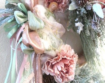 Victorian Beaded Christmas or Winter Angel Wreath in Mauve and Sage and Mint Green