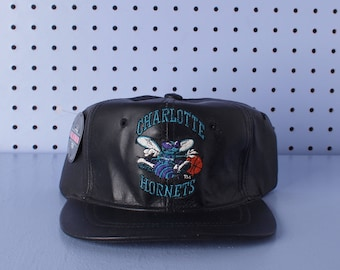 Vintage 90s CHARLOTTE HORNETS Deadstock Leather Cap by Universal NBA Basketball