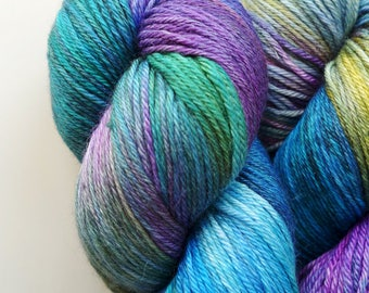 JulieSpins Silky 435 - Stained Glass - Aqua Blue Green Purple Gold Light Fingering Weight Hand Dyed Luxury Merino Silk Yarn