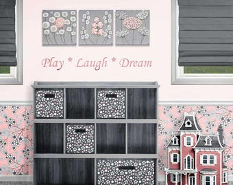 Girl Nursery Wall Art Pink and Gray Canvas Art Paintings of Flowers - Textured Original Art Set of 3 Canvases - 32x10