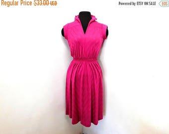 STOREWIDE CLEARANCE Vintage Raspberry Pink Fuchsia Midi Disco Dress A Line Chevron Ribbon Stripes Cap Sleeves Ruffles Deep V Secretary S Sma