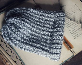 Thundercloud Baby Beanie. Hand Knit Dove Gray Infant Child Cold Weather Hat.