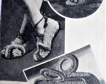 Vintage Crochet Pattern 1930s 1940s Women's Crochet Sandals Shoes Slippers Handbag Purse 30s 40s original pattern Bestway WW2 WWII style