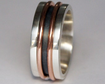 Silver copper large men's wedding band.