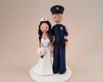 Police Officer & Nurse Custom Made Wedding Cake Topper