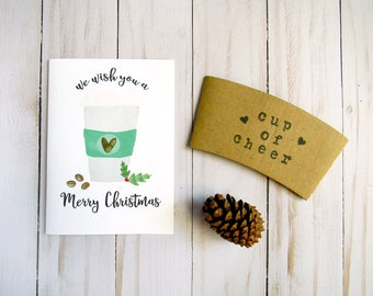 Coffee Christmas Cards - Christmas Coffee Sleeve - Gift for Coffee Lovers - Cup of Cheer - Merry Christmas Card - Stocking Stuffer for Her