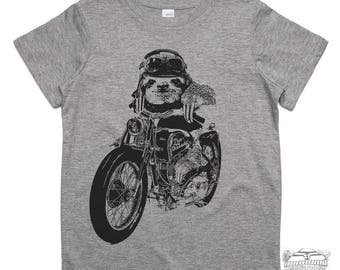 KIDS Motorcycle SLOTH Premium vintage soft Tee T-Shirt Fine Jersey T-Shirt (+Colors) - FREE Shipping