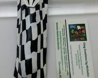 Mezuzah - Black and White Checkered Flag (#282)