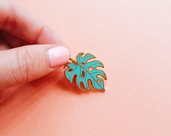 monstera leaf enamel pin mint and gold lapel accessory hard enamel pin botanical brooch cloisonné tropical leaf pin gift for mom plant lady