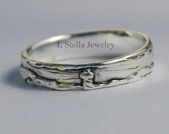 Tree of Life Lighthouse Landscape Band 14K gold Ocean Clouds Wedding Stack-able ring