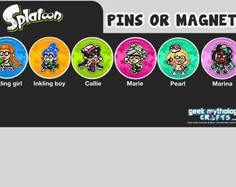 Splatoon Nintendo Pins or Magnets - Pixel Art Inklings Callie Marie Pearl Marina