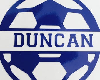 Soccer ball name decal, car decal, computer case decal, yeti decal, water bottle decal