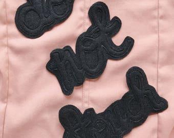 Do Not Touch Patch Cursive Font Sew On Badge Felt Applique Embellishment Black Denim Jacket Patch