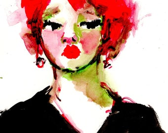 Gouache Original, Red Hair, Woman's Face, Female Figure, Red and Black, Free Shipping, 9 x 9, Painting on Paper, Gouache on Paper, Wall Art