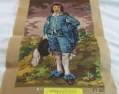 Vintage Needlepoint Canvas, needlepoint tapestry, Blue Boy portrait by Thomas Lawrence, Needlepoint Supplies, Large Needlepoint