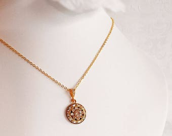 Art Deco Necklace - White Diamond - Wedding Necklace - Crystal - AURORA Ice