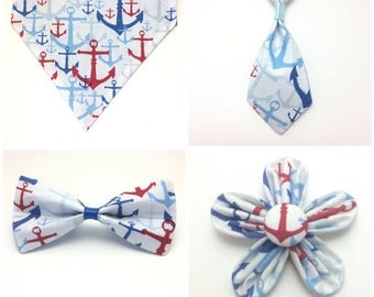 Pet Accessory - Red, White & Blue Anchor Over-the-Collar - Custom - Bandana, Bow Tie, Neck Tie, Flower