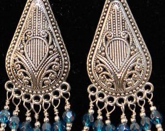 Crystal Blue Chandelier earrings