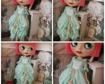 BLYTHE DRESS - Vintage Styled Shabby Elegance Tattered/Layered/Hand-Dyed Silk Dress  - Pastel Teal