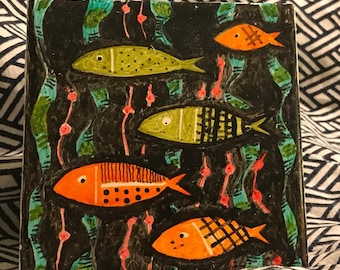 Quirky, Handpainted Fish Accent Tile
