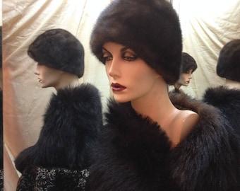 """1960's, size 22"""", dark brown ranch mink pill box hat"""