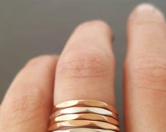 Faceted Band Ring rose gold ring gold ring or silver ring stackable hammered ring 16 gauge Thumb Ring Stacking Ring