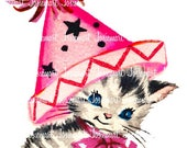 Pink Kitty with Party Hat Clip Art - Cat Image Greeting - Vintage Digital Download - Kitty Party Hat Birthday Kitten Image Large JPG PNG