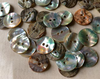 20 Abalone Buttons  24L 15mm for Knitting, Jewelry, Garments, Crafts  BU 107