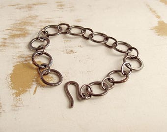 Hammered Copper Circles Bracelet, Oxidised Copper Link Bracelet, Metalsmith Jewelry, Linked Ring Bracelet, Geometric Jewellery