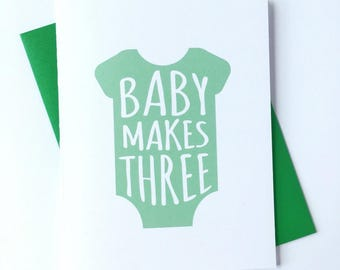 New Baby Card, Congratulations Card, Pregnancy Card, Baby Onesie Card for New Parents, New Mom Card, Cute Card for Baby Shower, Card for Mom
