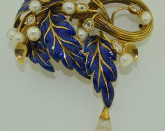Victorian 18K French Enamel with Old Mine Cut Diamonds & Pearl Brooch