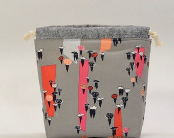 City Scenes Small Drawstring Knitting Project Craft Bag - READY TO SHIP