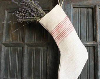 D 210: handmade, linen, antique, charming,  CHRISTMAS STOCKING, vintage ,리넨, decoration;